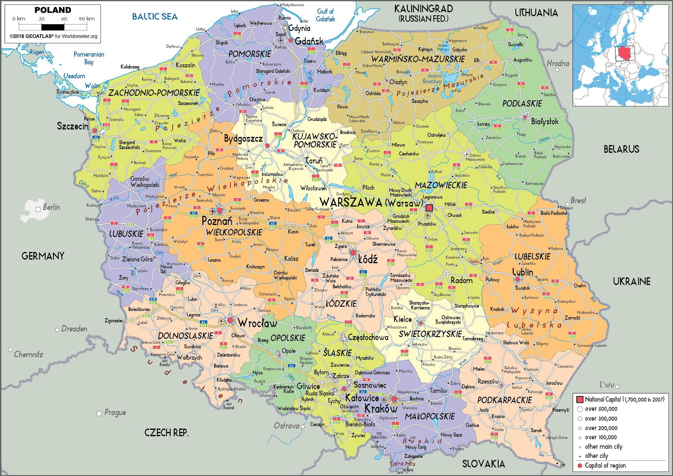 karta europa azerbaijan Karta Poljske i susjednih zemalja   Poljske i susjednih zemalja  karta europa azerbaijan