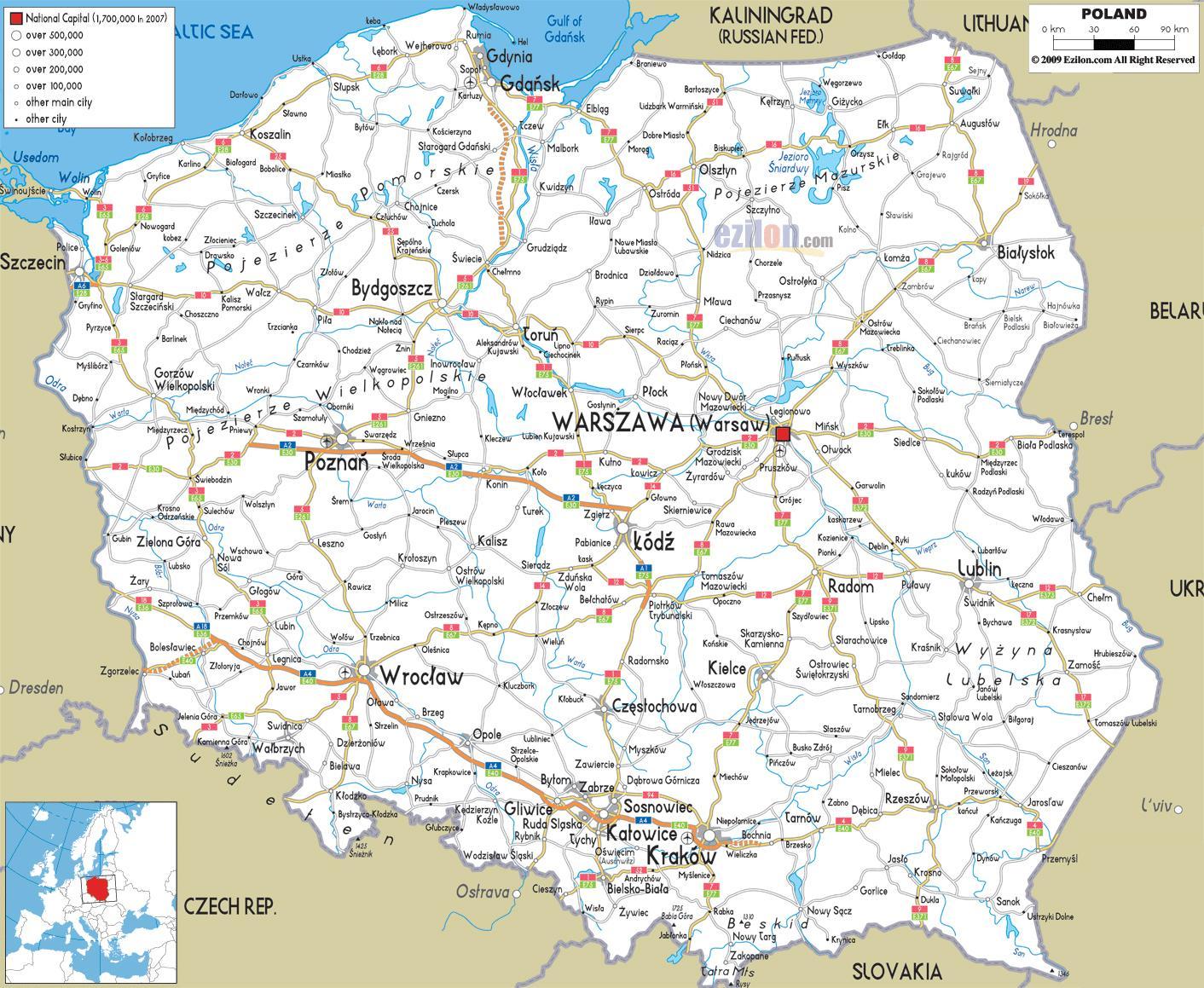 Poljska Putokaz Poljske Karta Cesta Istocna Europa Europa